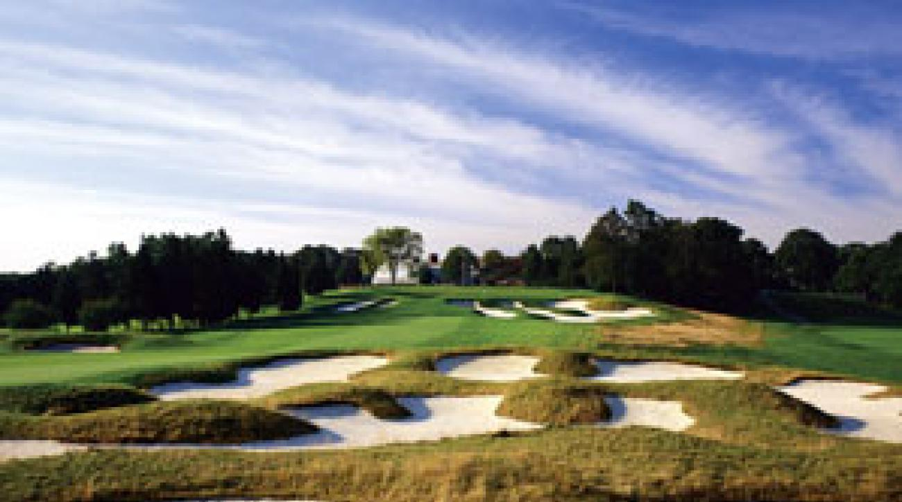 Here's a good idea of what your second shot at Bethpage Black's 18th hole might look like.