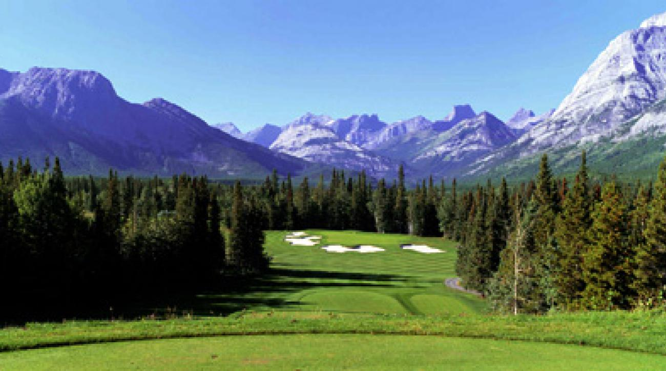 Hole No. 16 at the Mount Kidd Golf Course in Kananaskis Village, Alberta.