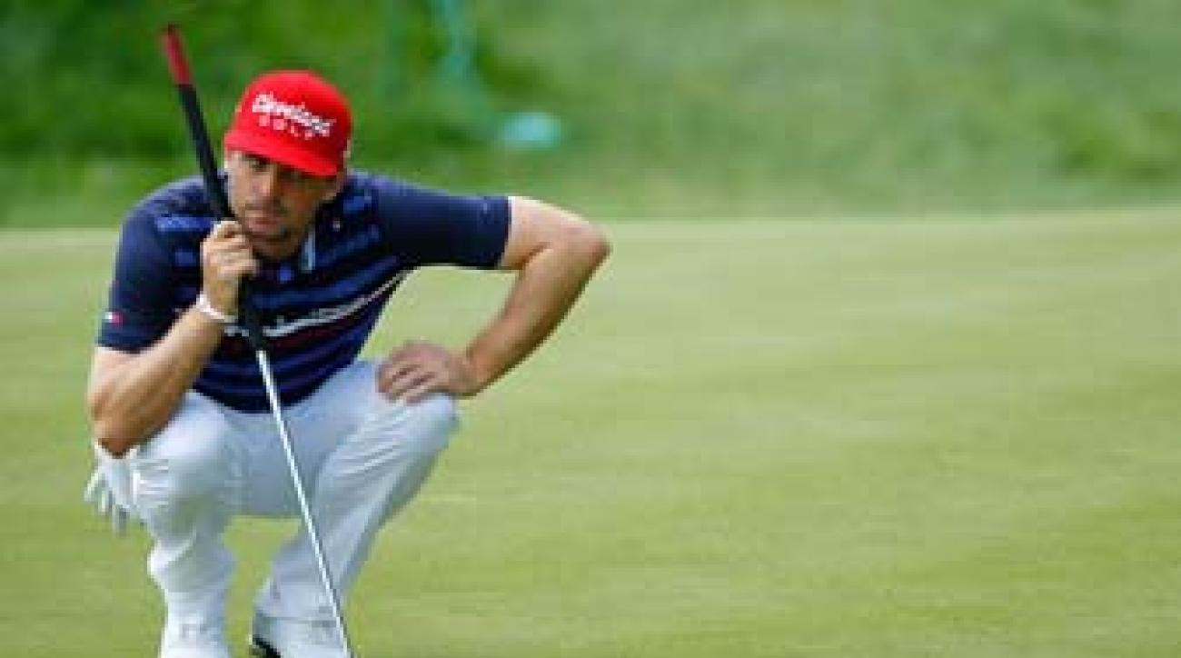 Keegan Bradley at the 2013 Travelers Championship. Bradley was the first player to win a major with an anchored putter.