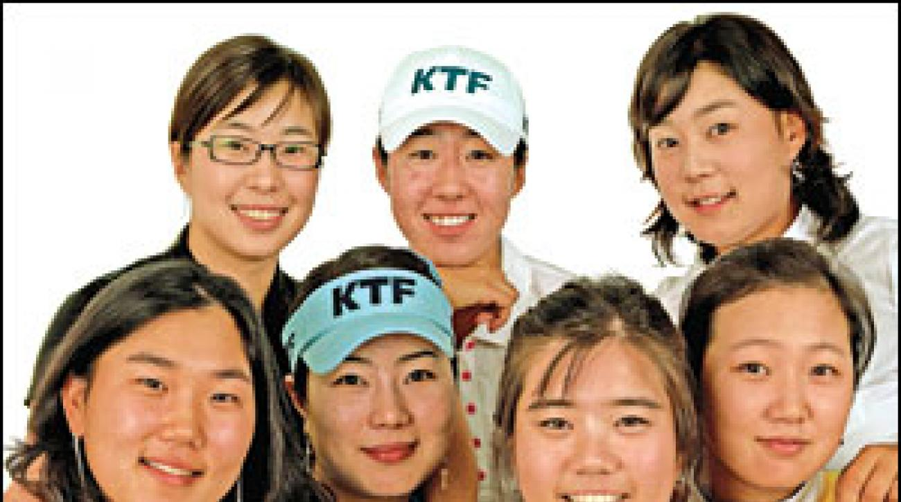 The Korean contingent includes (clockwise from top left) Shi Hyun Ahn, Birdie Kim, Jee Young Lee, Kyeong Bae, Sung Ah Yim, Meena Lee and Seon Hwa Lee.