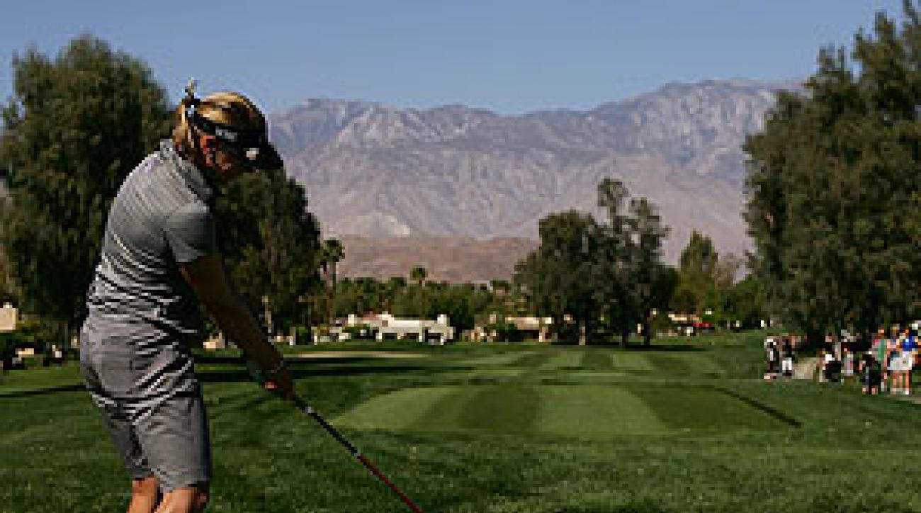 After three bogeys and a double bogey Annika Sorenstam finished at three-over par.