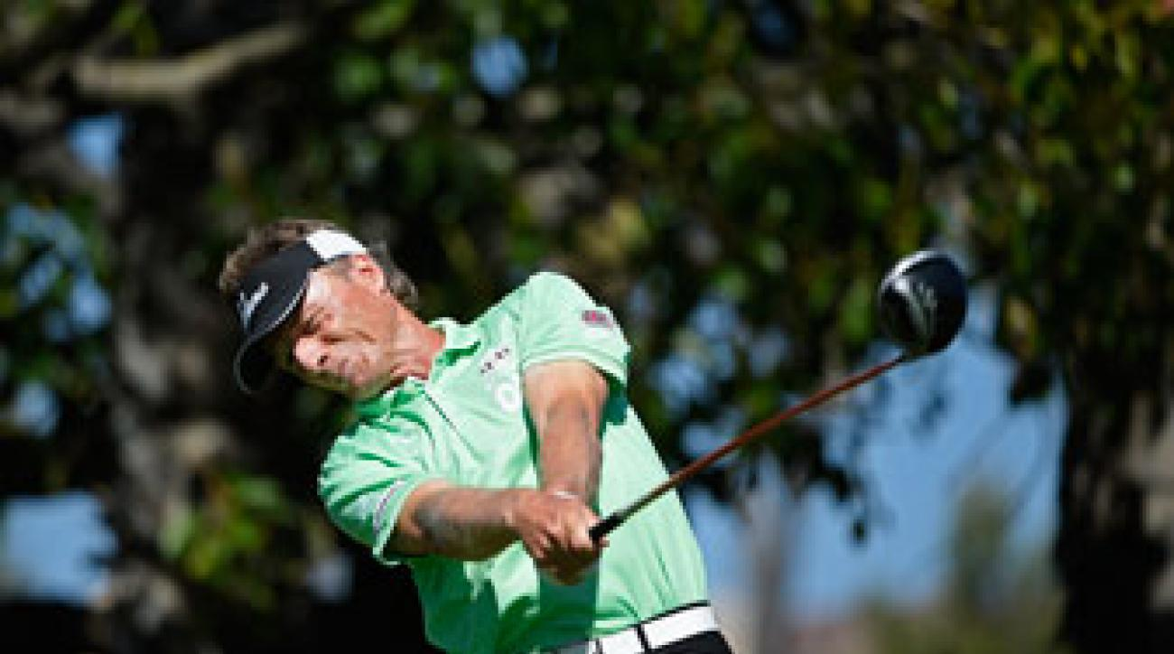 Bernhard Langer made five birdies and a double bogey on Friday.