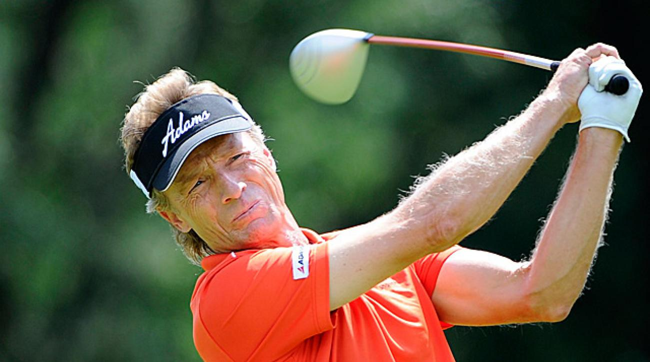 Langer's second-round 67 gives him a three-shot lead heading into Sunday's final round.