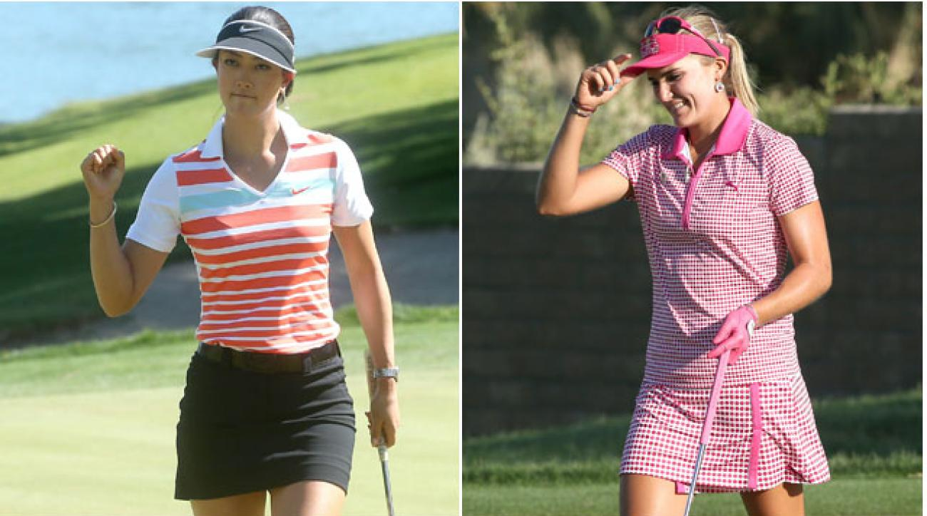 Michelle Wie and Lexi Thompson are tied for the lead at 10-under and each looking for their first major win at the Kraft Nabisco Championship.