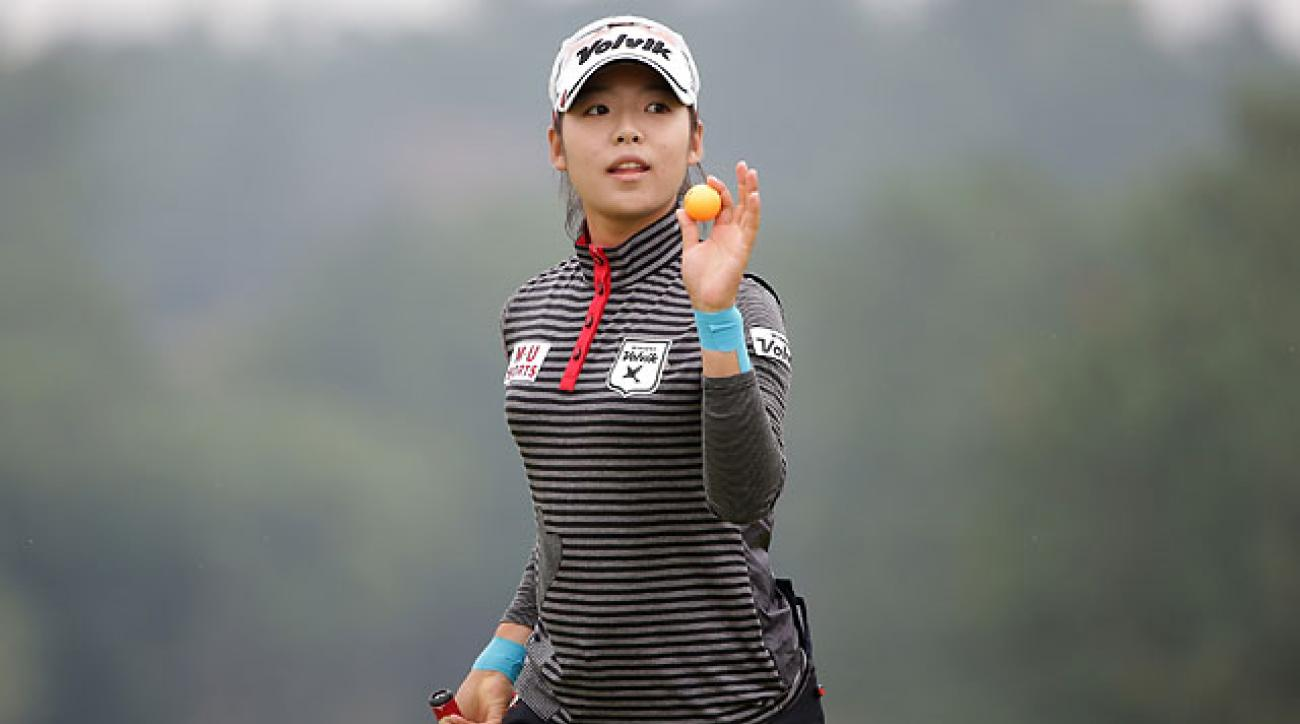 Mi-Hyang Lee of South Korea after making a putt 18th hole during the final round of the Mizuno Classic on Sunday in Shima, Japan