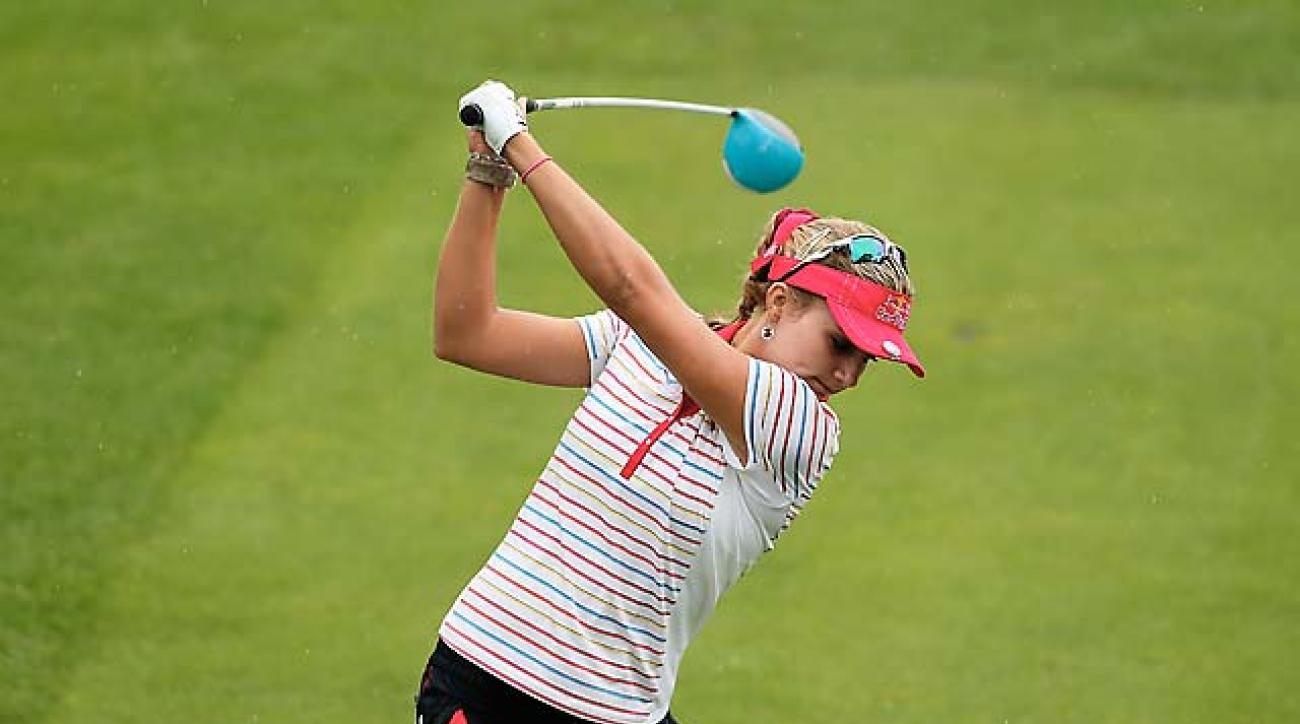 Lexi Thompson hits driver on the first hole of the third round of the Lorena Ochoa Invitational in Guadalajara, Mexico, on Saturday.