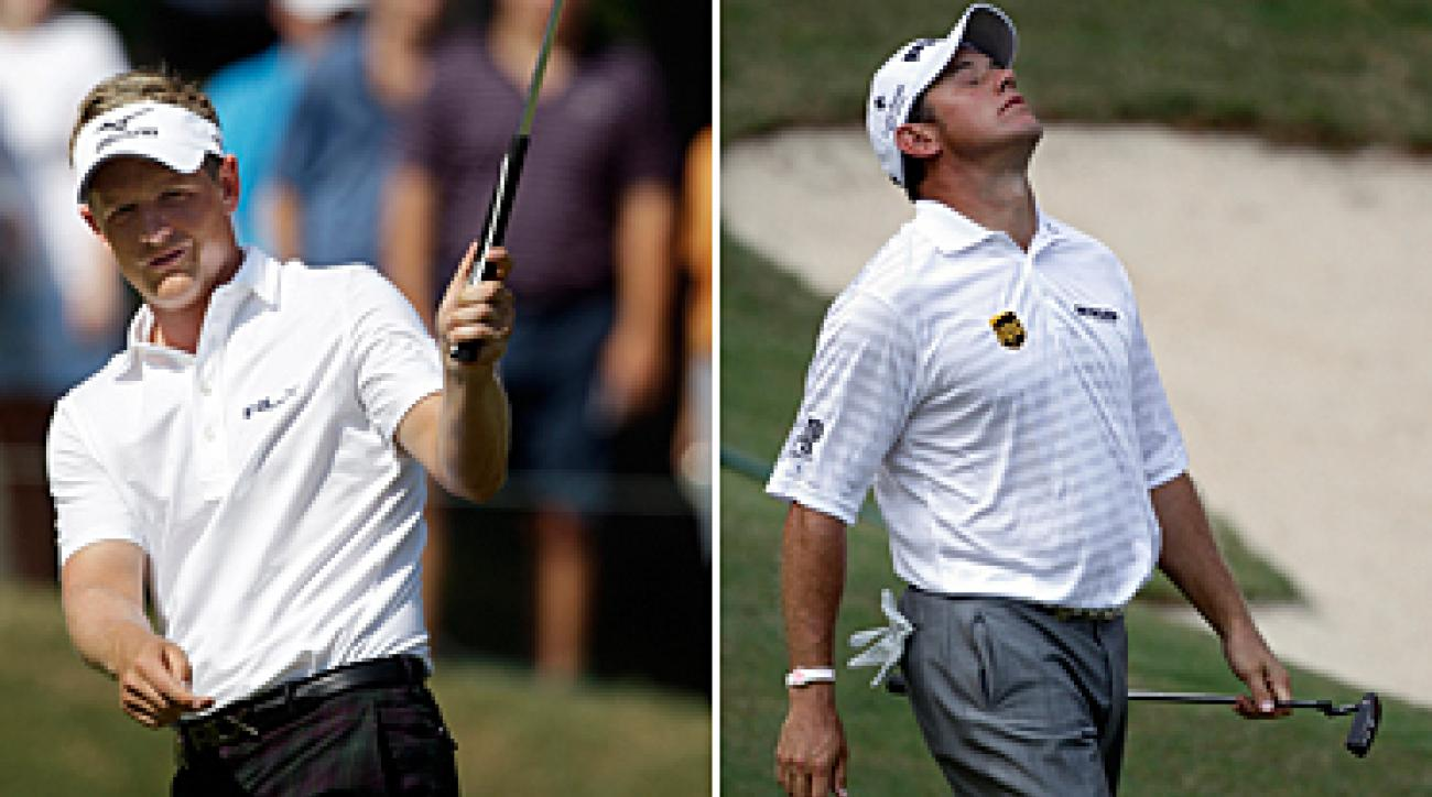 Luke Donald, left, is No. 1 in the world, and Lee Westwood is No. 2, but neither has won a major championship.