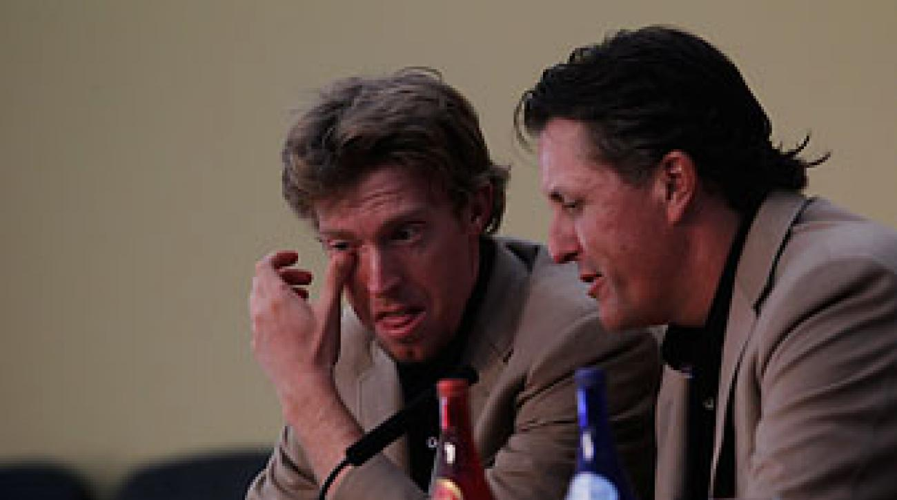Phil Mickelson comforts Hunter Mahan at the 2010 Ryder Cup at Celtic Manor in Wales. Mahan lost the deciding Cup match to Graeme McDowell.