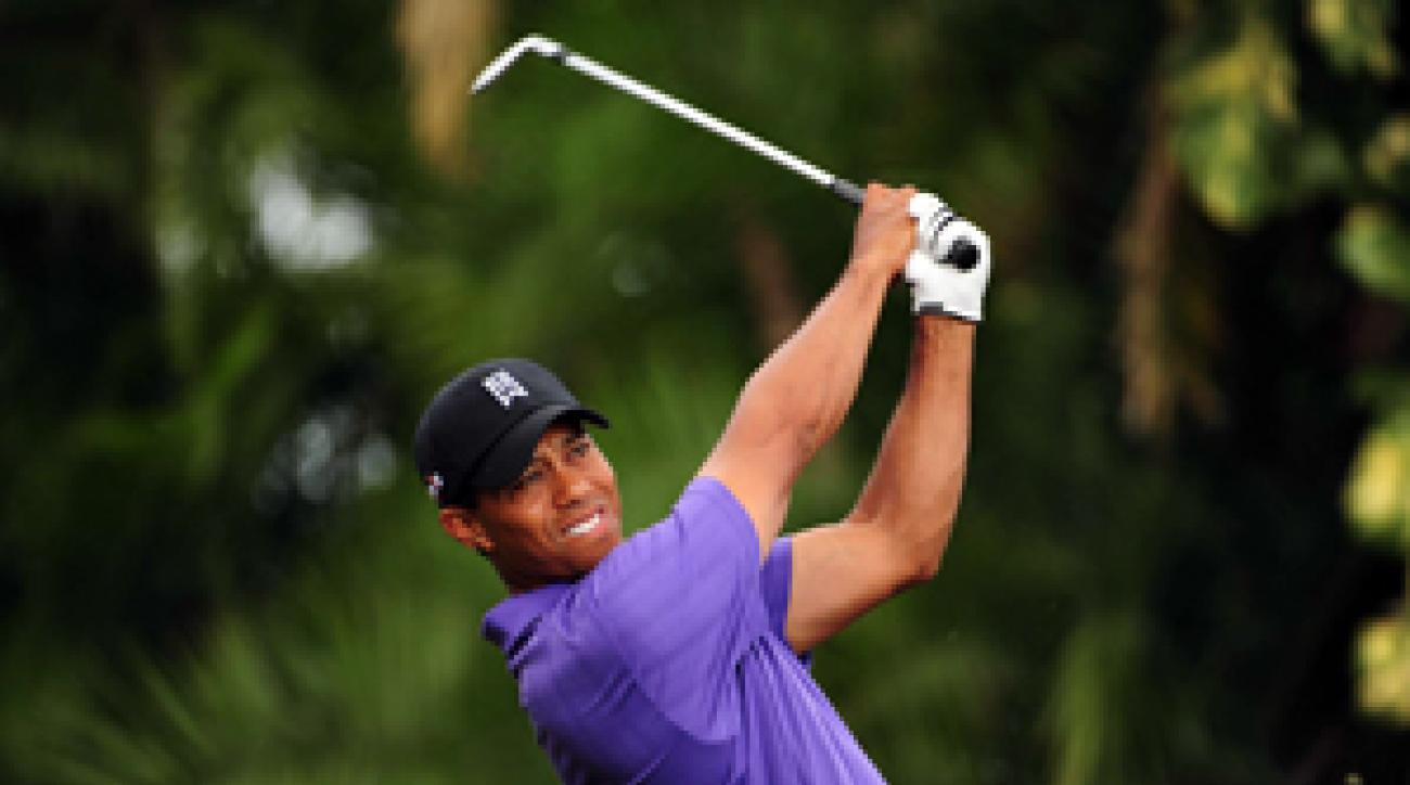 Tiger Woods said his right ankle was sore after Friday's round.
