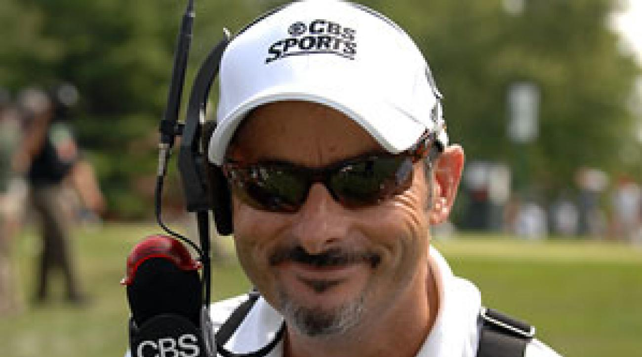 David Feherty said a truck hauling irrigation equipment pinched him into the curb and he was struck by the side mirror.