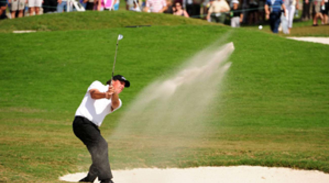 Phil Mickelson will try to win his first World Golf Championship event on Sunday.
