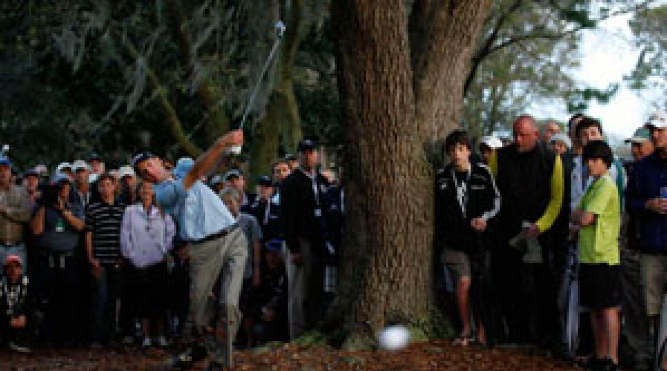 Many viewers had already switched to the Woods interview when Transitions winner Furyk mishit this shot on 18.