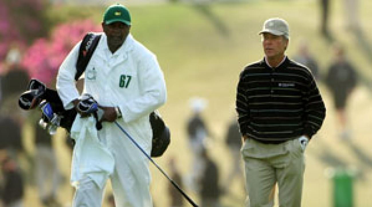 Carl Jackson, left, with Ben Crenshaw at the 2007 Masters.