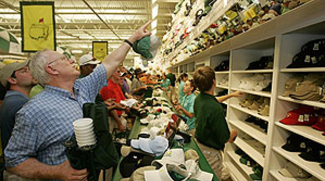 Supply and demand: Another busy day at the Masters mall.