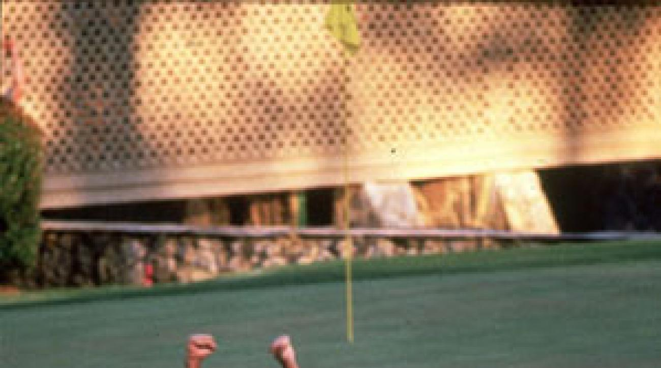 Larry Mize made a 140-foot chip shot to win the 1987 Masters.