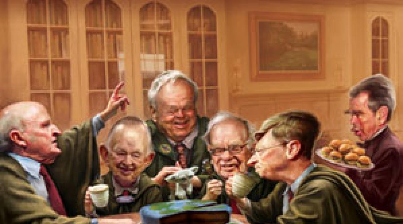 From left: Jack Welch, William Clay Ford Sr., Arnold Palmer, Warren Buffett, Bill Gates, George W. Bush.