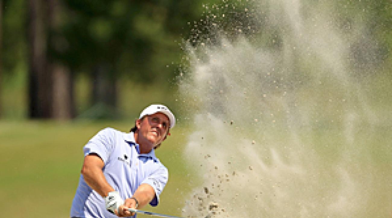 Phil Mickelson opened with a 31, but he shot a 40 on his second nine.