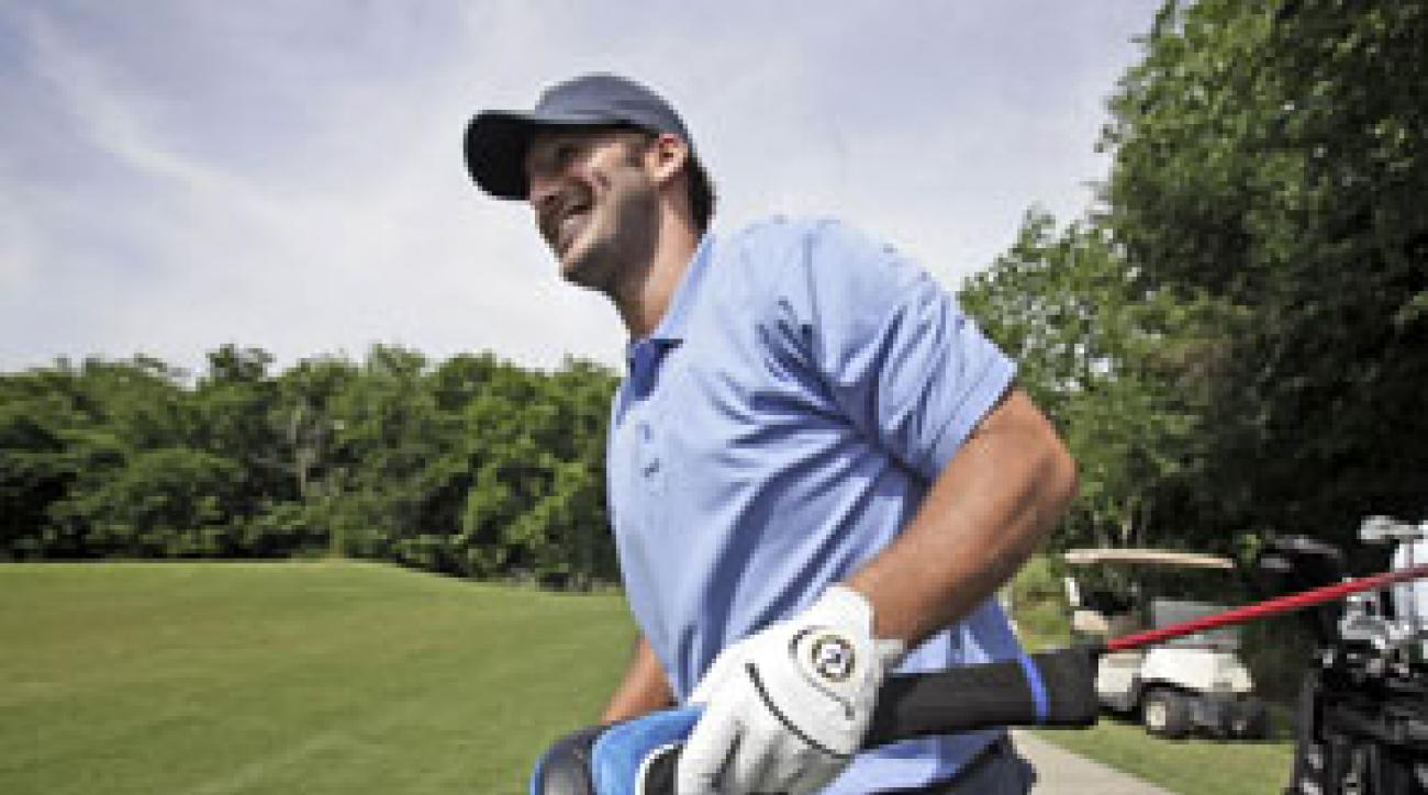 Tony Romo will try to qualify for next week's Byron Nelson Championship.