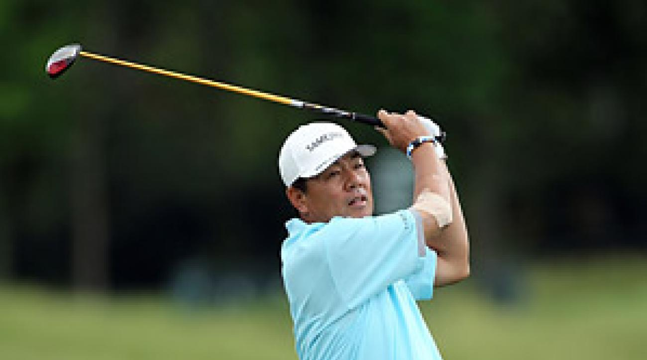 Kiyoshi Murota surprised the field by taking the lead in the rain-shortened first round at the Senior PGA.