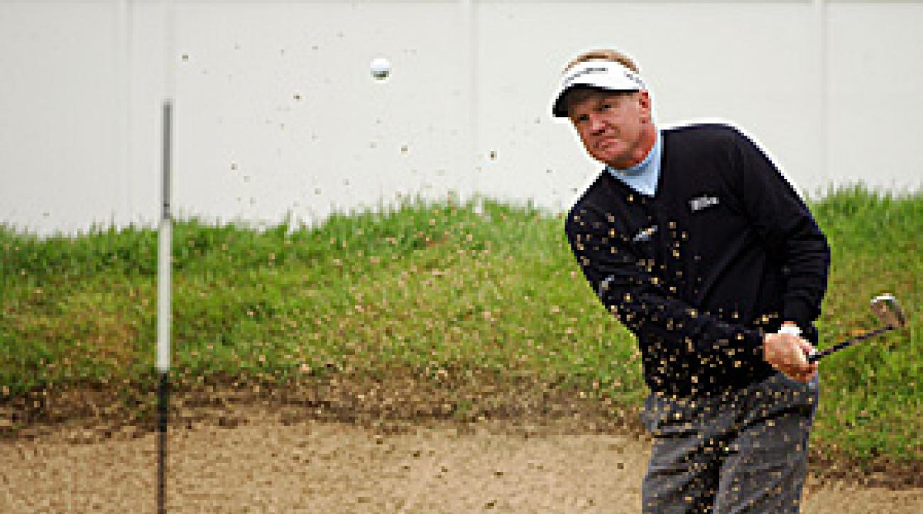 Paul Broadhurst of England on the 18th hole Saturday at the BMW PGA Championship.