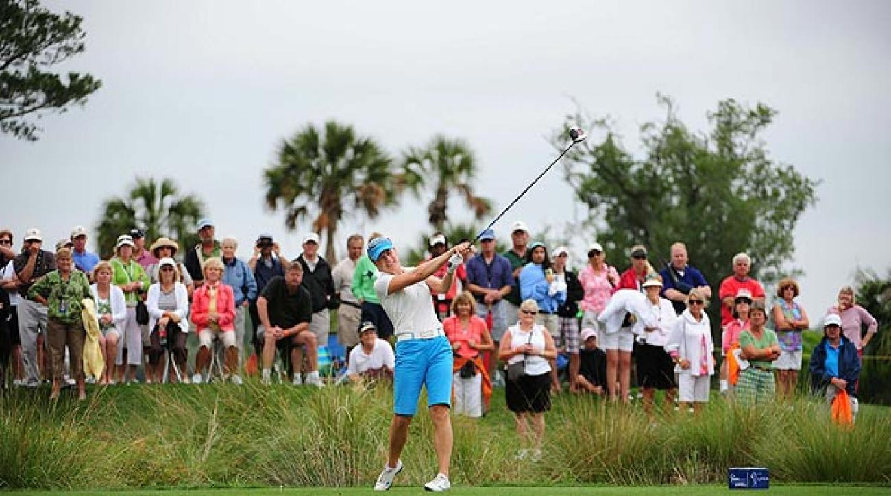Sorenstam's round took a hit when she triple-bogeyed the par-4 fifth hole.