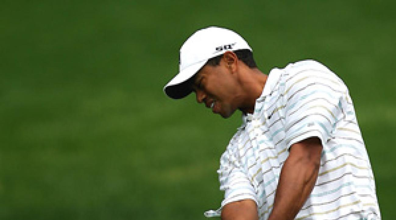 Tiger Woods was in the lead until a bogey-bogey finish.
