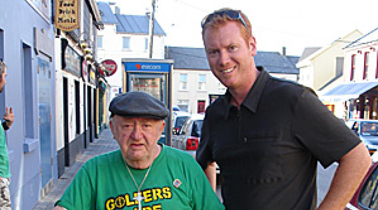 Tom Coyne, right, with a gentleman he met along the way in Lahinch.