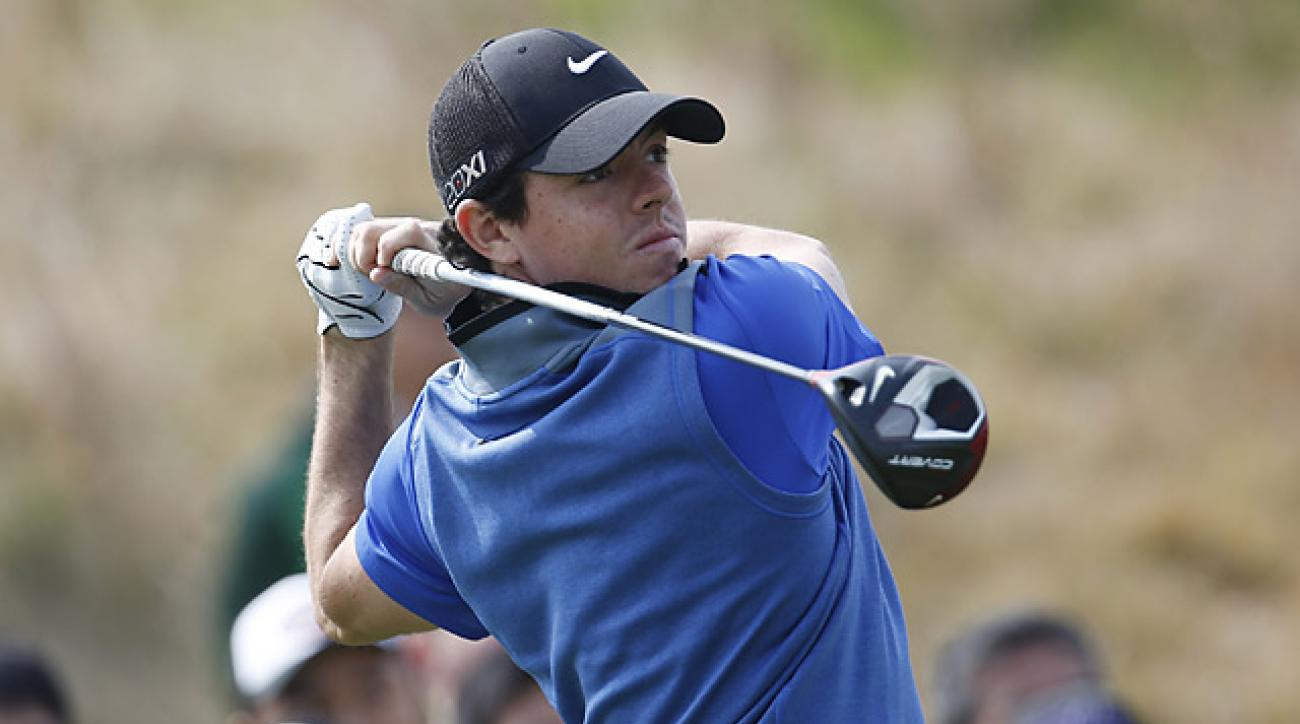 Rory McIlroy made up some ground on Saturday but double-bogeyed the last hole to fall six shots back.