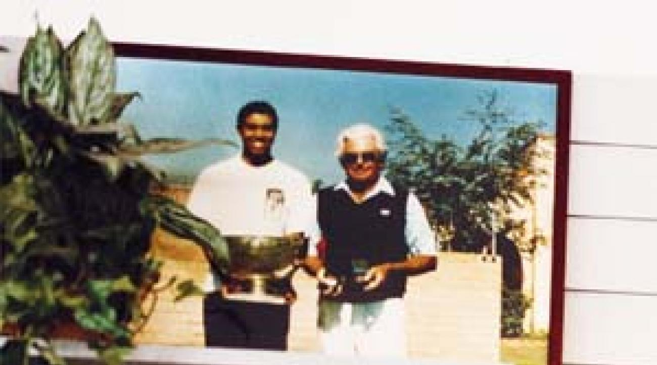 "Woods with coach John Anselmo at Meadowlark. <span class=""picturesource"">Sylvia Plachy</span>"