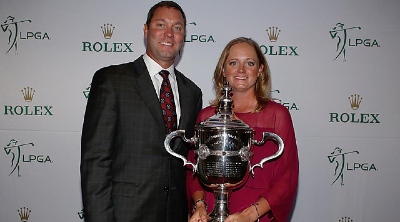 LPGA Tour commissioner Mike Whan presents Stacy Lewis with the 2012 Player of the Year award.