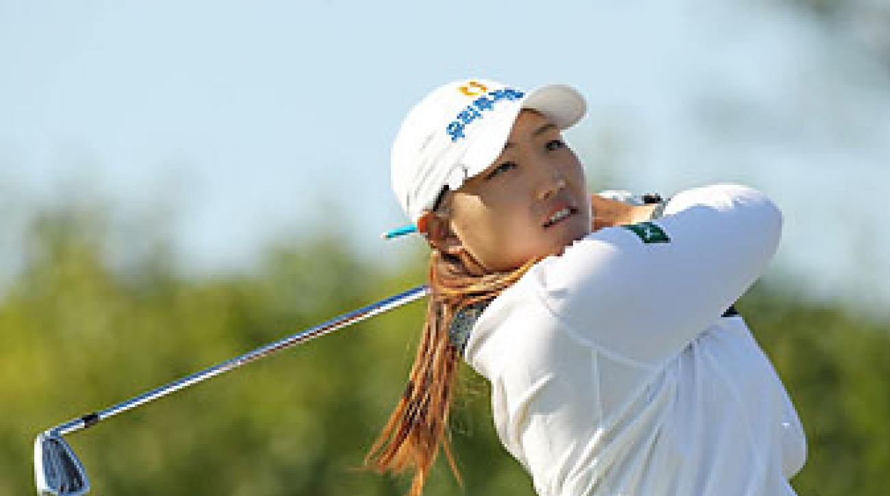 Mirim Lee of South Korea hits a tee shot during day four of the 2014 Reignwood LPGA Classic at Reignwood Pine Valley Golf Club on Oct. 5 in Beijing, China.