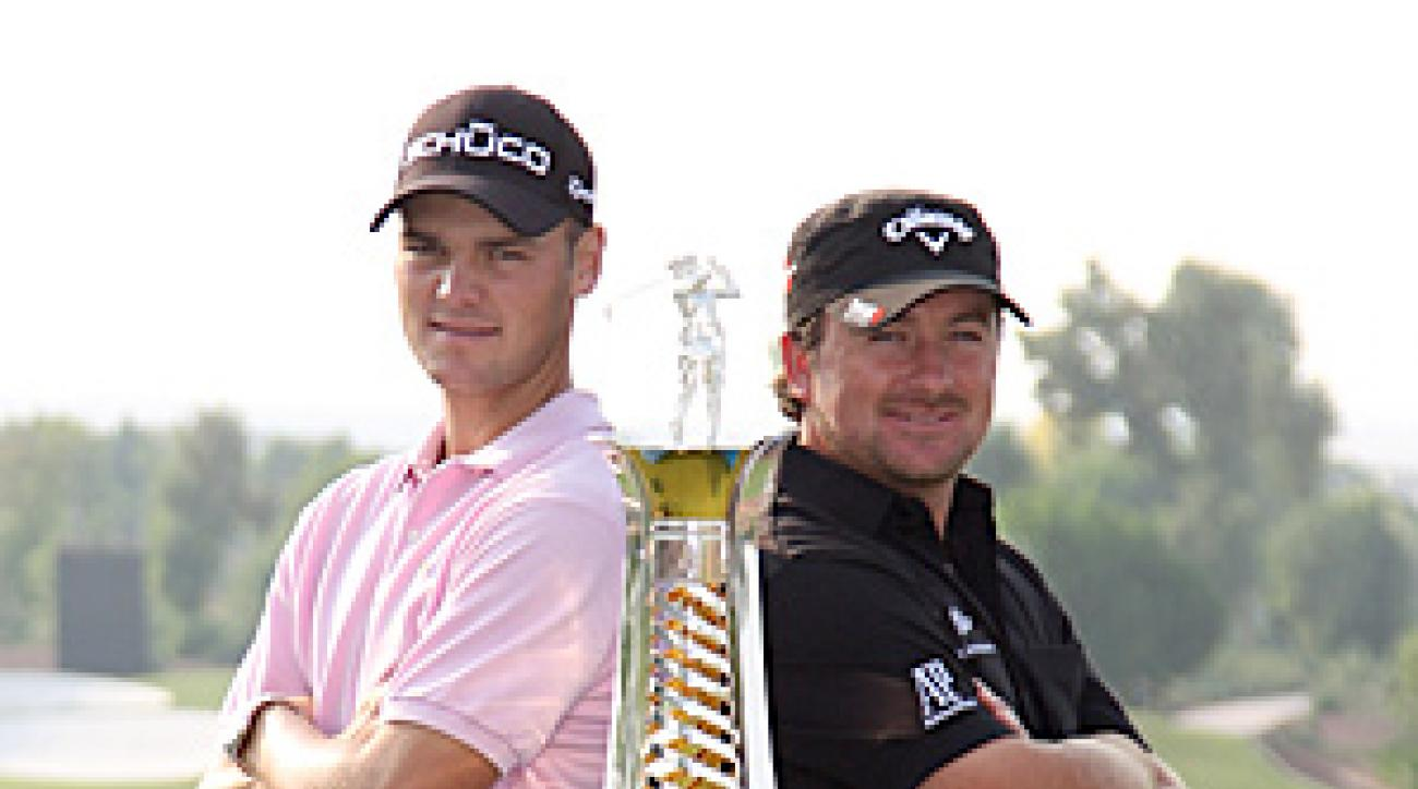 Martin Kaymer (left) will have to fend off second-place Graeme McDowell (right) at the Dubai World Championships to clinch his first European Tour money title.