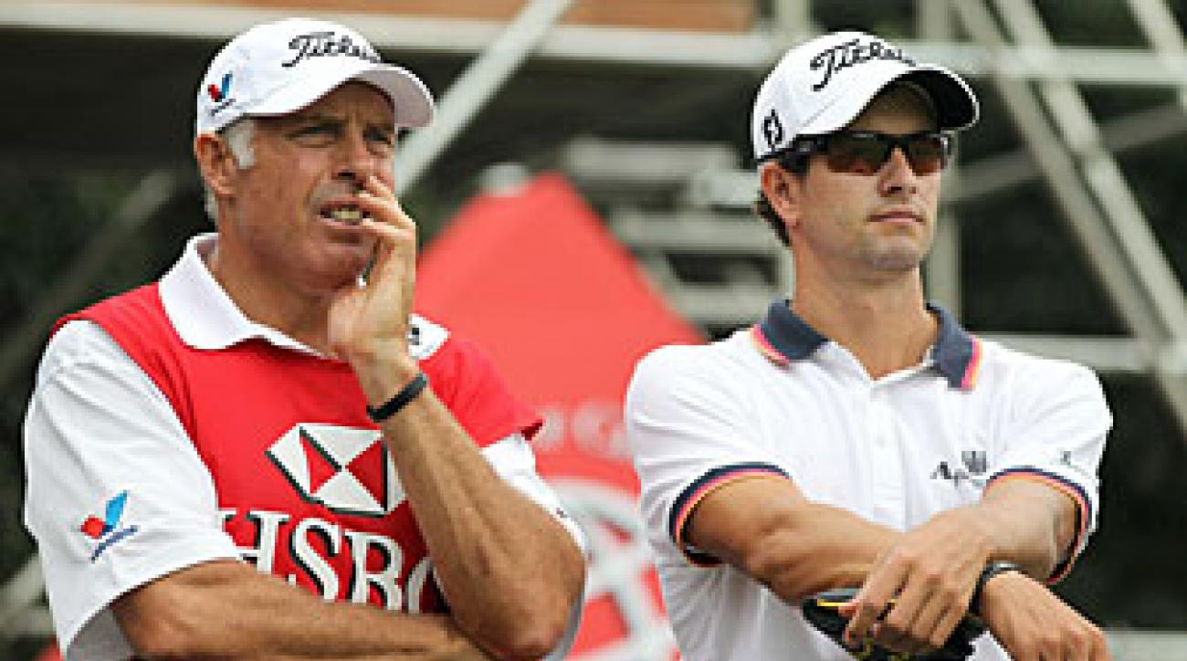 Adam Scott made an eagle, six birdies, three bogeys and a double bogey.