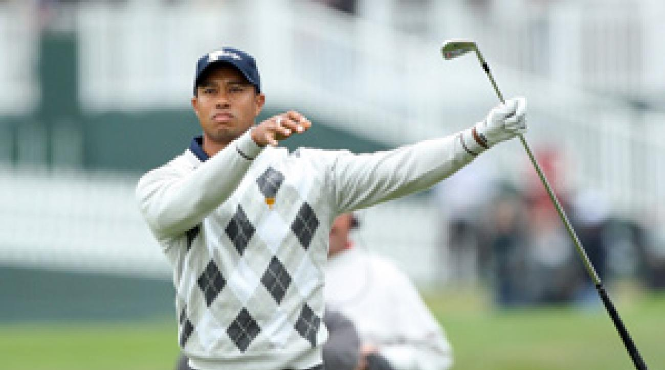 Tiger Woods gets a rematch with Y.E. Yang on Sunday.