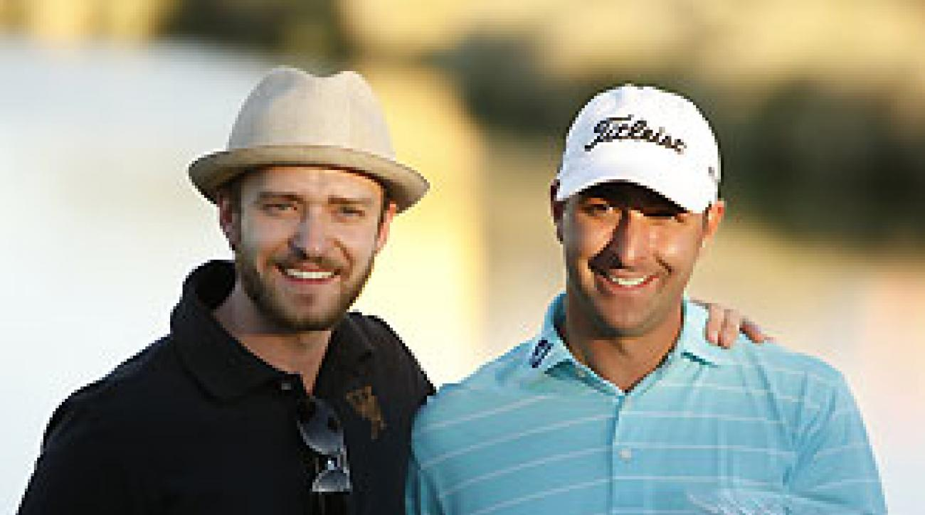 Marc Turnesa posed with Justin Timberlake after his win.