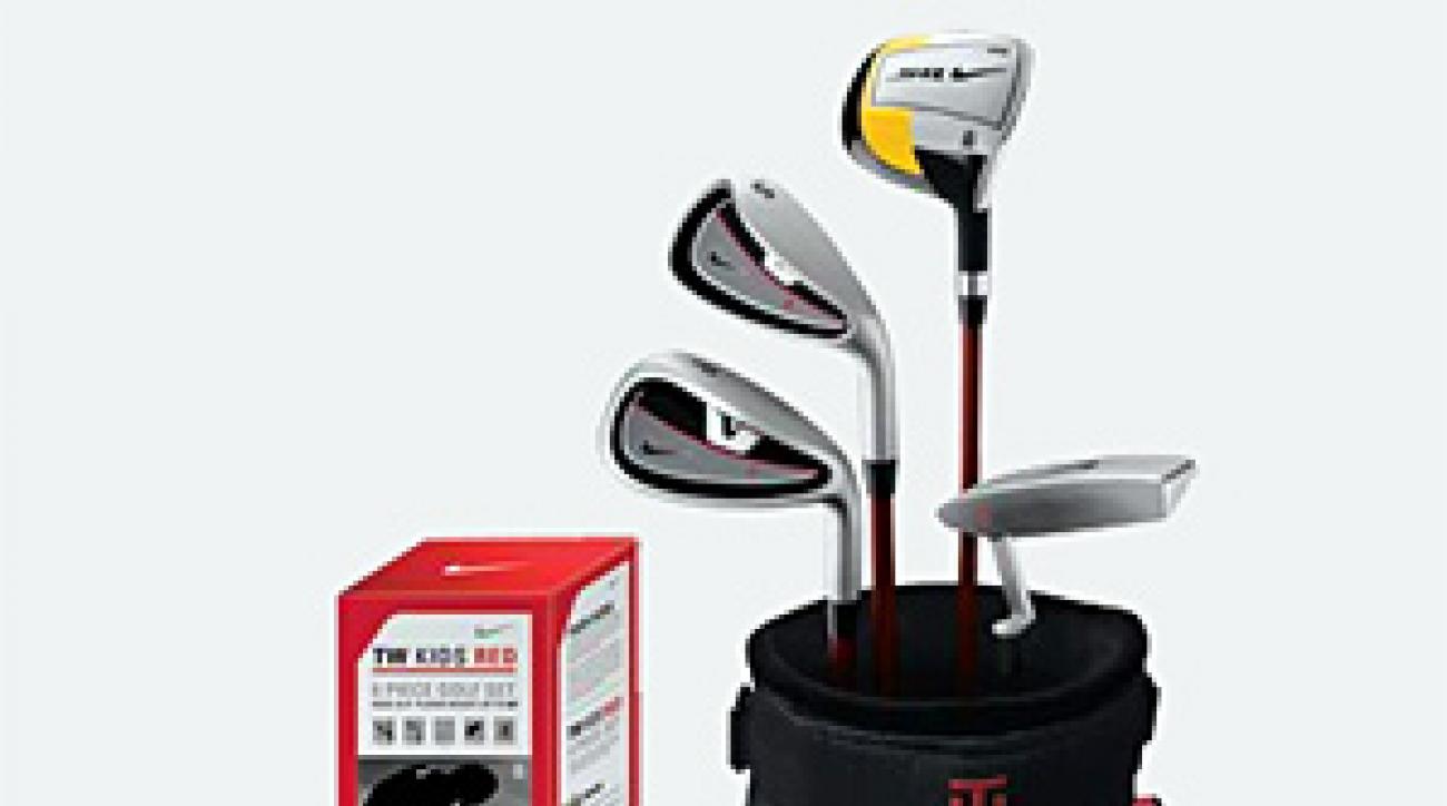 Nike's junior set includes golf balls, a bag and four clubs.