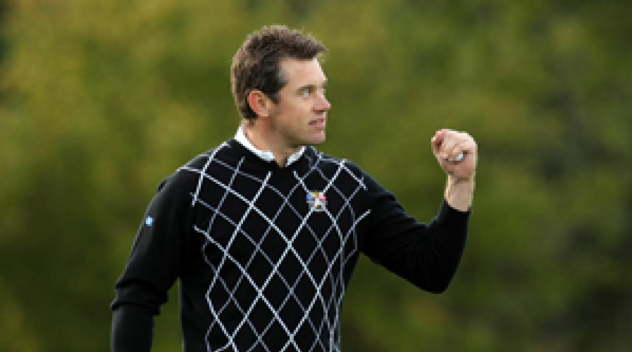 Lee Westwood and partner Luke Donald are 4 up on Tiger Woods and Steve Stricker.