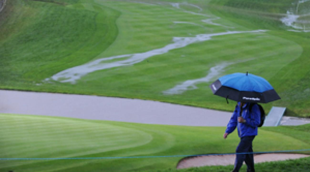More heavy rain Sunday means the Ryder Cup will finish on Monday.