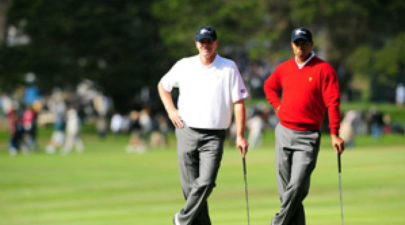Tiger Woods and Steve Stricker won their match on Thursday, and they are paired together again on Friday.