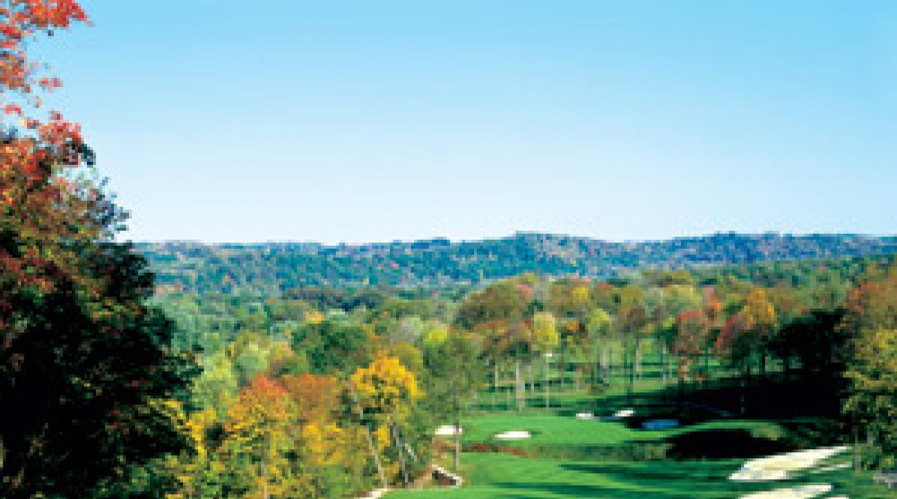 The hilly, forested fairways of Olde Stonewall are just 40 minutes north of the Steel City.