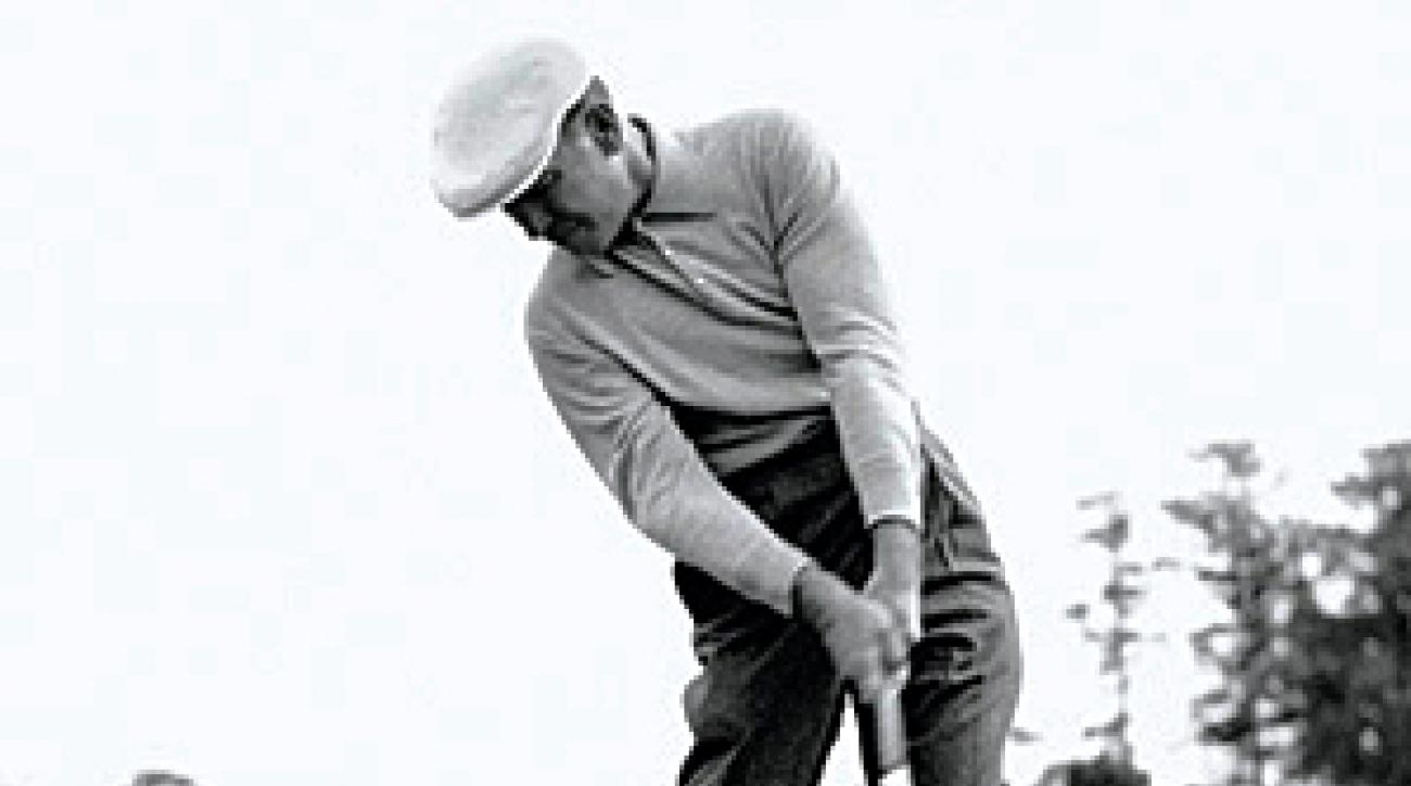 Ben Hogan through impact — left hip up and to the left.