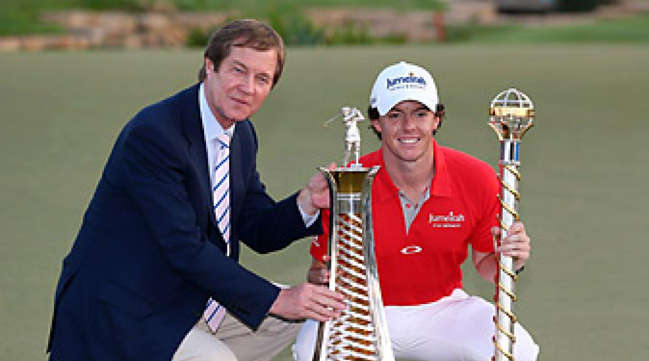 Euro Tour chief George O'Grady with Rory McIlroy at the 2012 DP World Championship.