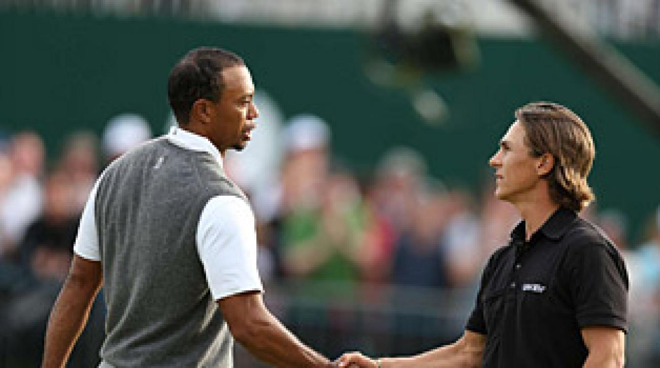 Thorbjorn Olesen shot 71 on Saturday, and his playing partner, Tiger Woods, shot 70.