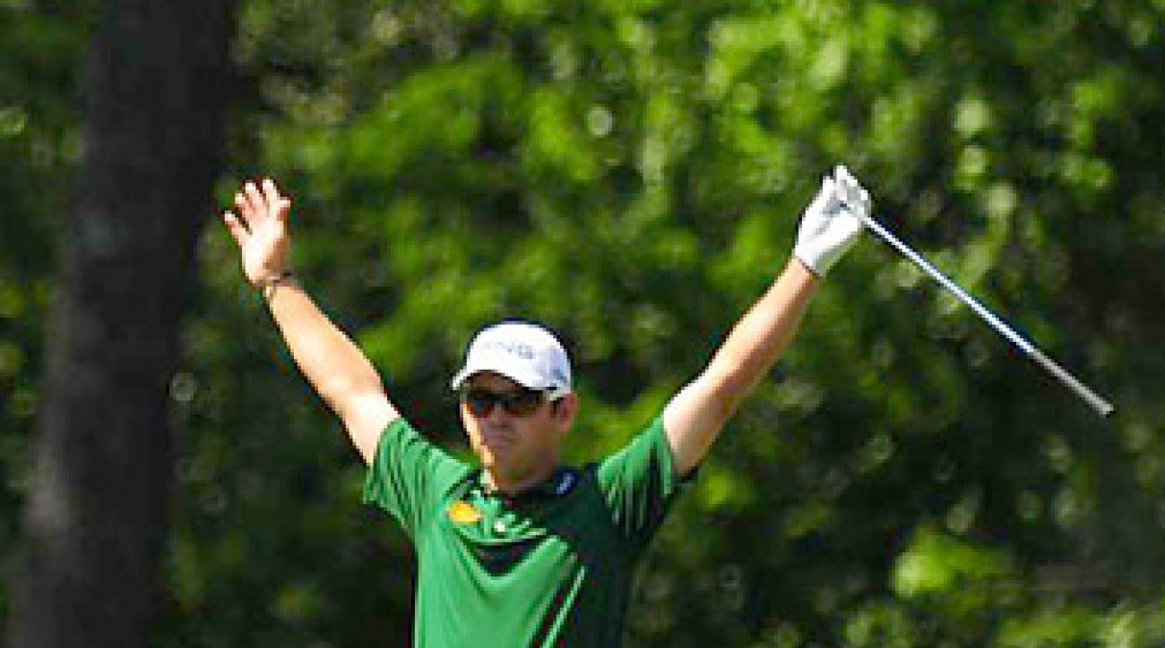 Louis Oosthuizen made a 2 on the par-5 second hole at the Masters. Here's the question: do you call the feat a double eagle or an albatross?