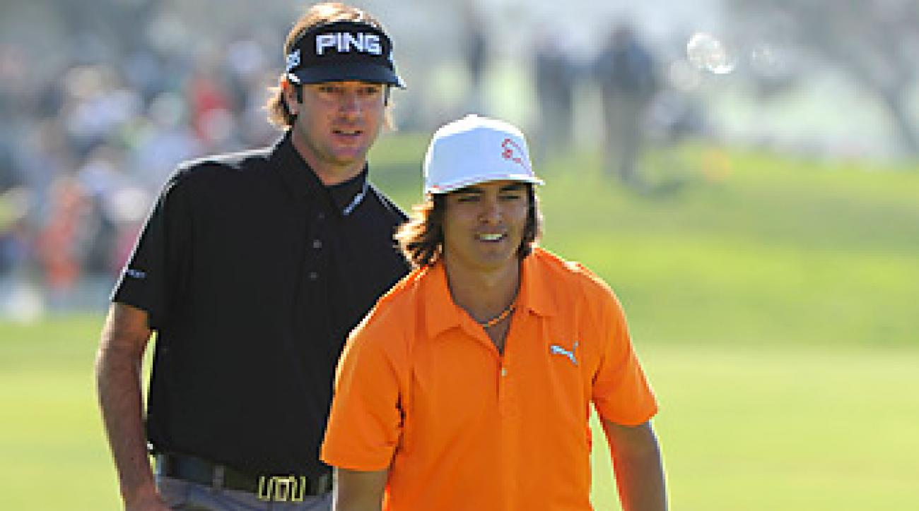 Bubba Watson and Rickie Fowler, shown here at the 2011 Farmers Insurance Open at Torrey Pines, will team up against Fred Couples and Davis Love III at Cypress Point.