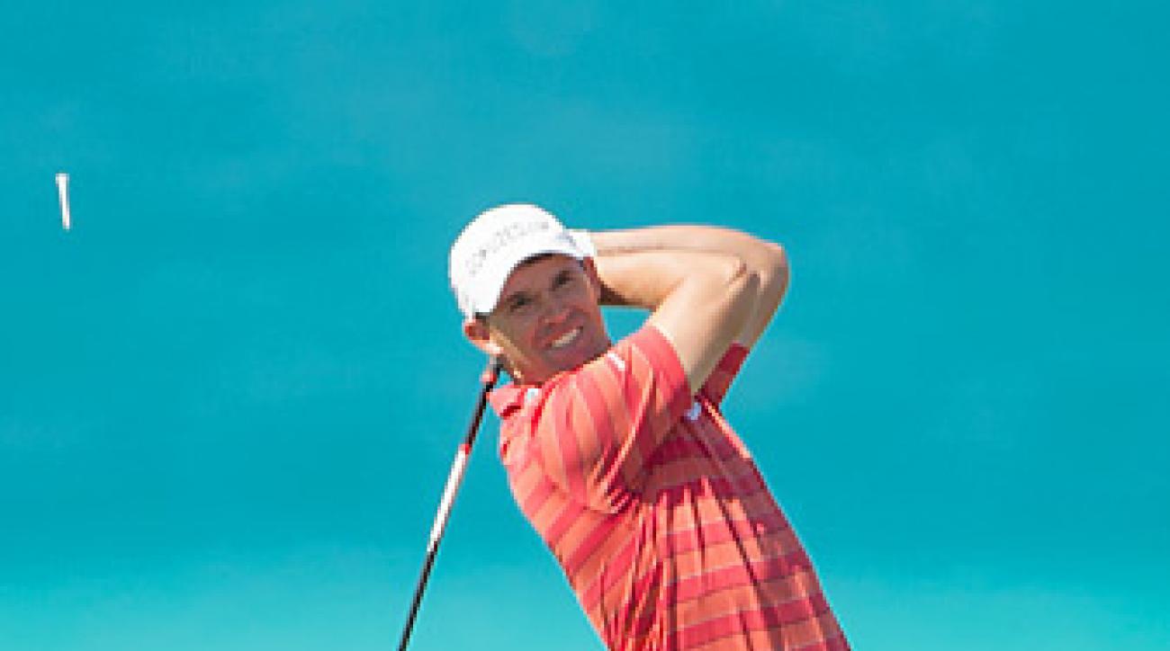 Padraig Harrington shot a 66 on Tuesday at the Grand Slam of Golf.