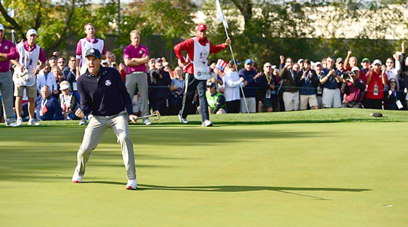 Keegan Bradley teamed with Phil Mickelson again Saturday morning, and thumped Lee Westwood and Luke Donald 7 and 6.