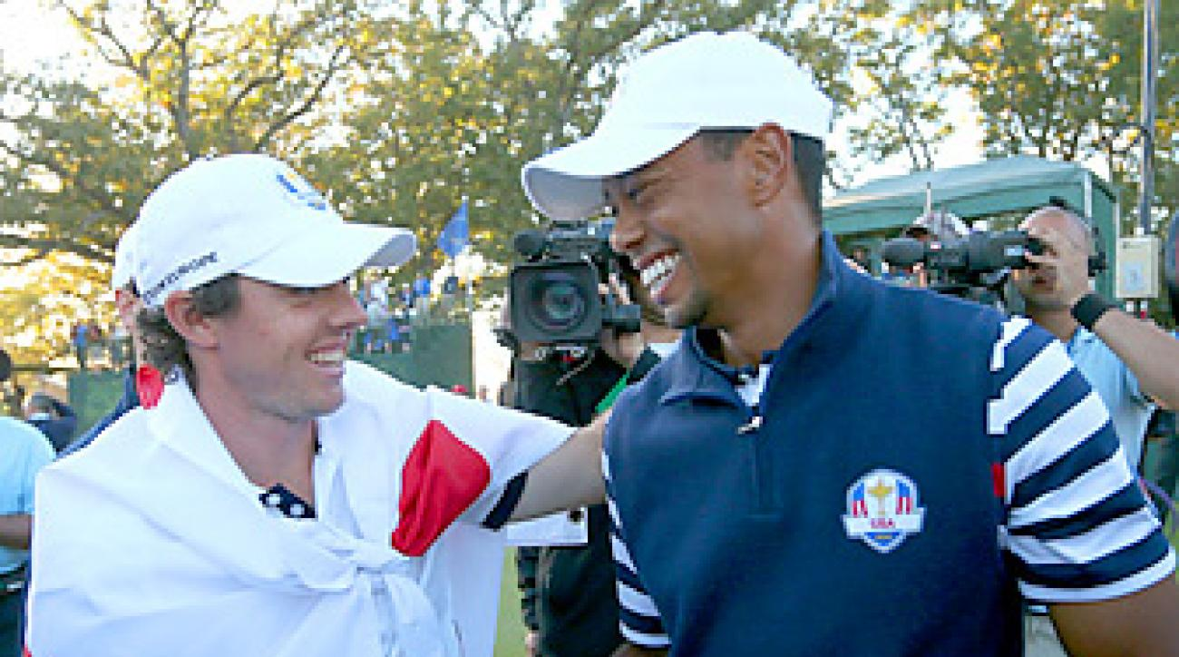 Rory and Woods shared a light moment after Europe's comeback victory.