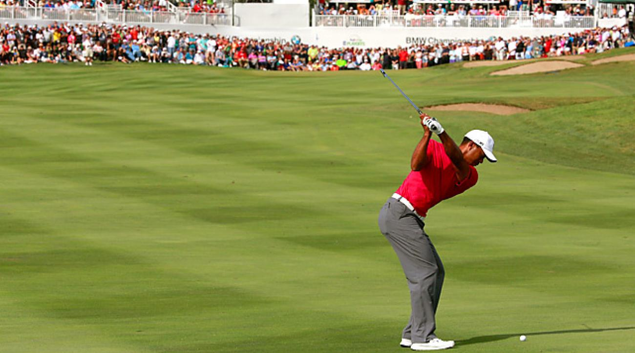 Tiger Woods pulled into contention Saturday at the BMW after firing a five-under 66.