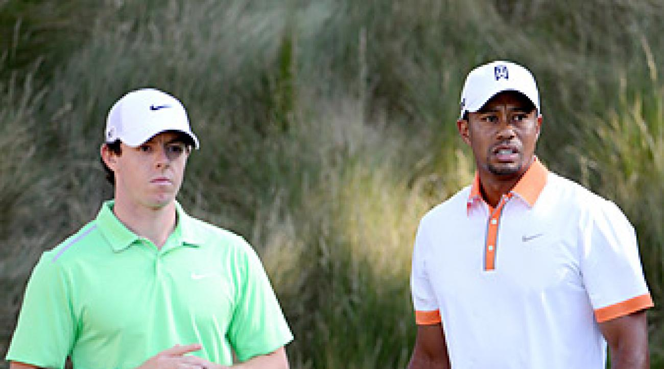 Rory McIlroy and Tiger Woods played together for part of their practice round Wednesday at Merion.